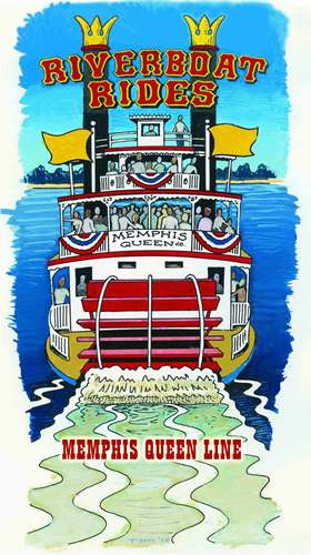 Cartoon of Memphis Queen Riverboat